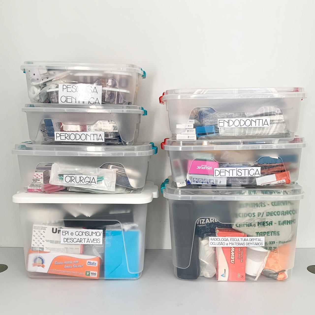 Materiais separados em caixa