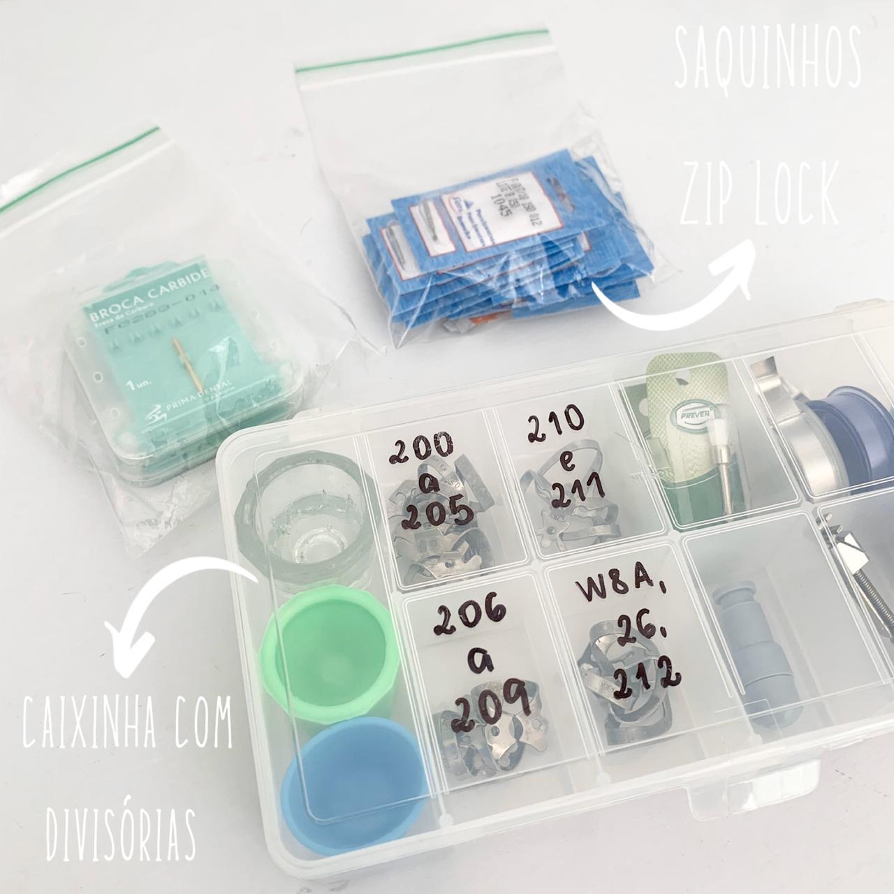 Exemplos saquinho zip lock e caixas